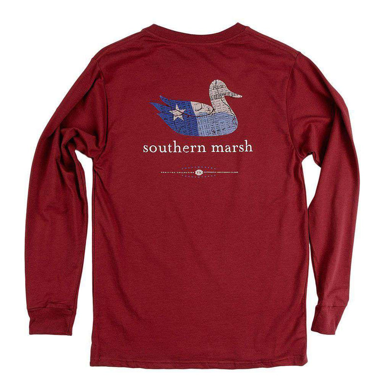 Men's Tee Shirts - Authentic Texas Heritage Long Sleeve Tee In Maroon By Southern Marsh