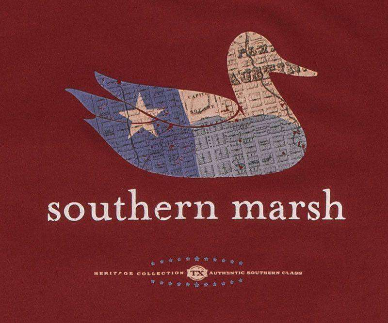 Men's Tee Shirts - Authentic Texas Heritage Tee In Maroon By Southern Marsh