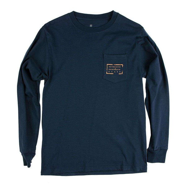 Men's Tee Shirts - Authentic Virginia Heritage Long Sleeve Tee In Navy By Southern Marsh