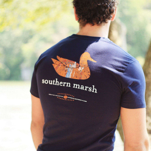 Men's Tee Shirts - Authentic Virginia Heritage Tee In Navy By Southern Marsh