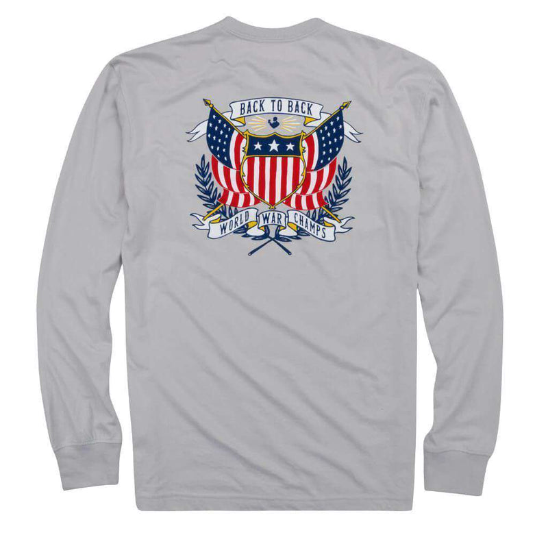 Men's Tee Shirts - Back To Back Crest Long Sleeve Pocket Tee In Apollo By Rowdy Gentleman
