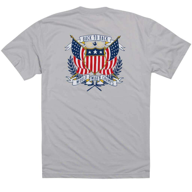 Men's Tee Shirts - Back To Back Crest Short Sleeve Pocket Tee In Apollo By Rowdy Gentleman