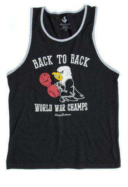 Men's Tee Shirts - Back To Back World War Champs -Eagle Edition- Tank Top In Black By Rowdy Gentleman