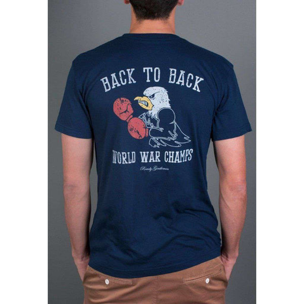 Men's Tee Shirts - Back To Back World War Champs -Eagle Edition- Tee In Navy By Rowdy Gentleman