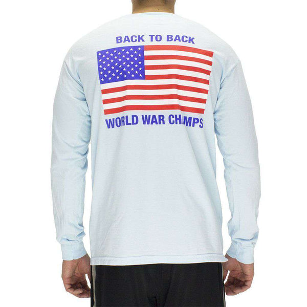 Men's Tee Shirts - Back To Back World War Champs Long Sleeve Pocket Tee In Chambray By Full Time American