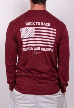 Men's Tee Shirts - Back To Back World War Champs Long Sleeve Pocket Tee In Maroon By Rowdy Gentleman