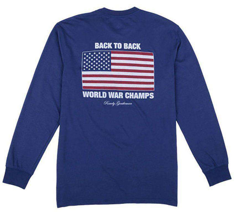Men's Tee Shirts - Back To Back World War Champs Long Sleeve Pocket Tee In Navy By Rowdy Gentleman