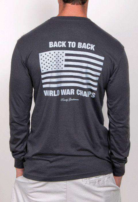 Men's Tee Shirts - Back To Back World War Champs Long Sleeve Pocket Tee In Smoke By Rowdy Gentleman
