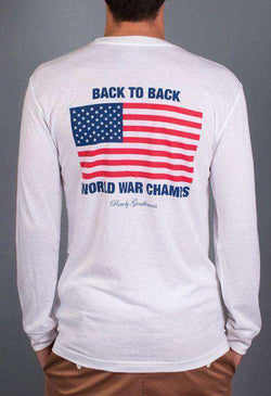 Men's Tee Shirts - Back To Back World War Champs Long Sleeve Pocket Tee In White By Rowdy Gentleman