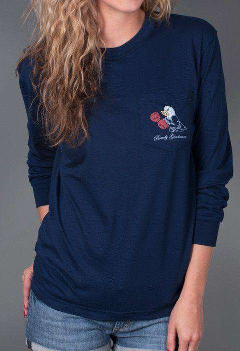 Men's Tee Shirts - Back To Back World War Champs Long Sleeve Tee - Eagle Edition - In Navy By Rowdy Gentleman