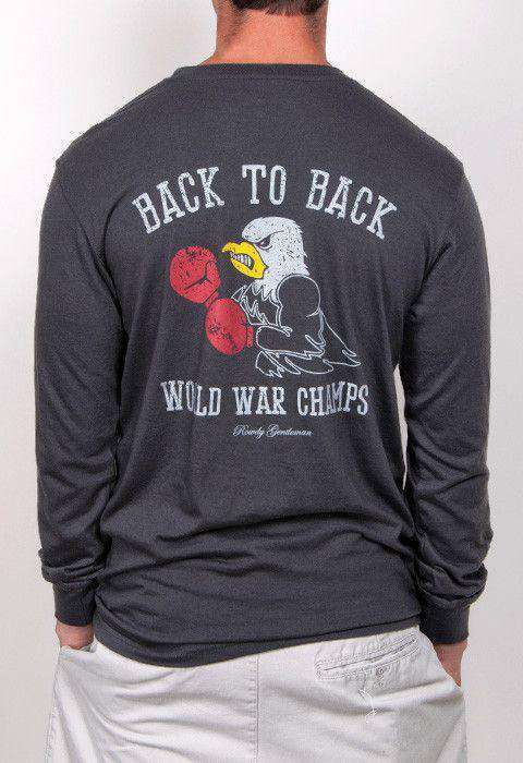 Men's Tee Shirts - Back To Back World War Champs Long Sleeve Tee - Eagle Edition - In Smoke By Rowdy Gentleman