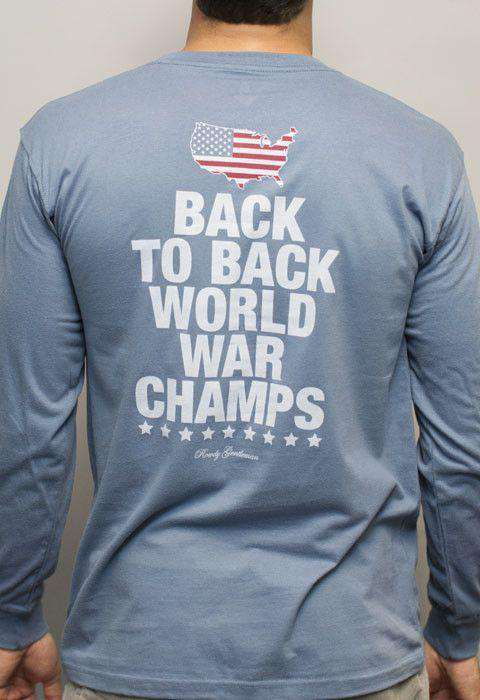 Men's Tee Shirts - Back To Back World War Champs Long Sleeve Tee With America Silhouette In Navy By Rowdy Gentleman