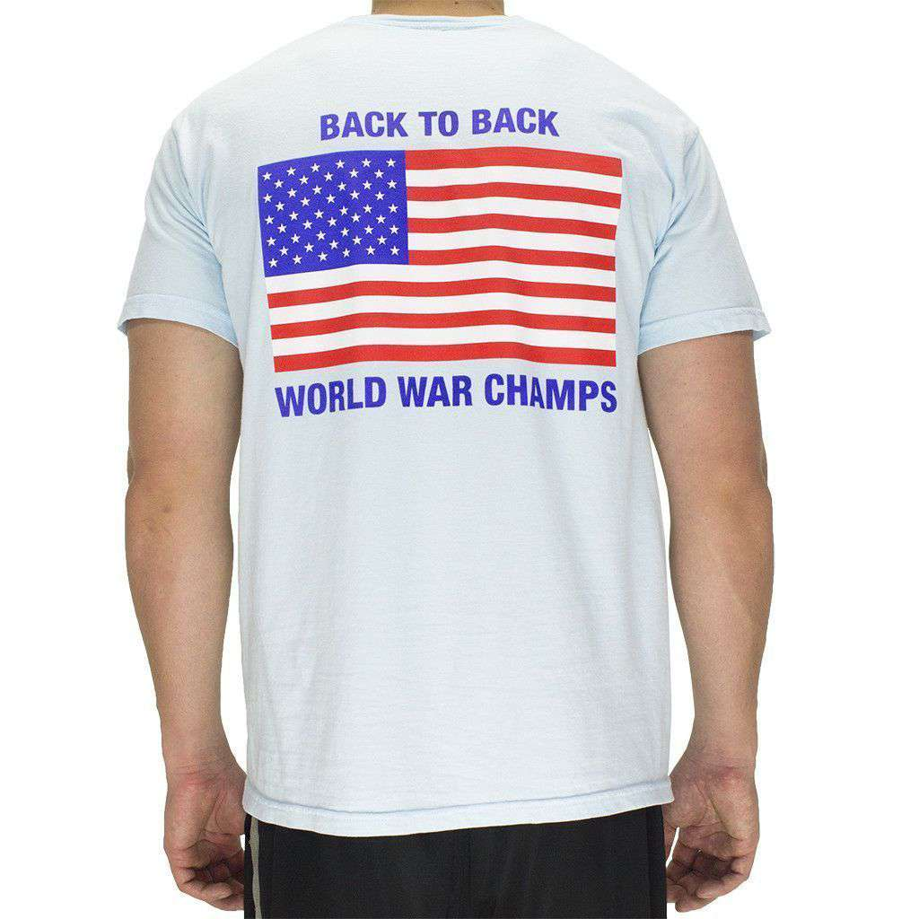 f1416fd30 Full Time American Back to Back World War Champs Pocket Tee in Chambray –  Country Club Prep