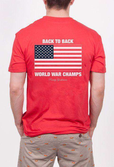 Men's Tee Shirts - Back To Back World War Champs Pocket Tee In Red By Rowdy Gentleman
