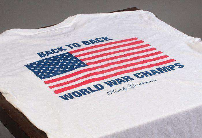 Back to Back World War Champs Pocket Tee in White by Rowdy Gentleman