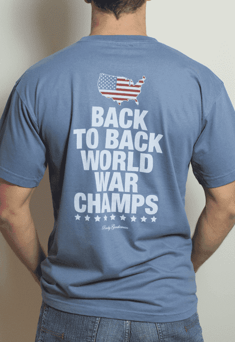 Men's Tee Shirts - Back To Back World War Champs Pocket Tee With America Silhouette In Weathered Blue By Rowdy Gentleman - FINAL SALE