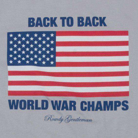 Men's Tee Shirts - Back To Back World War Champs Short Sleeve Pocket Tee In Fog By Rowdy Gentleman