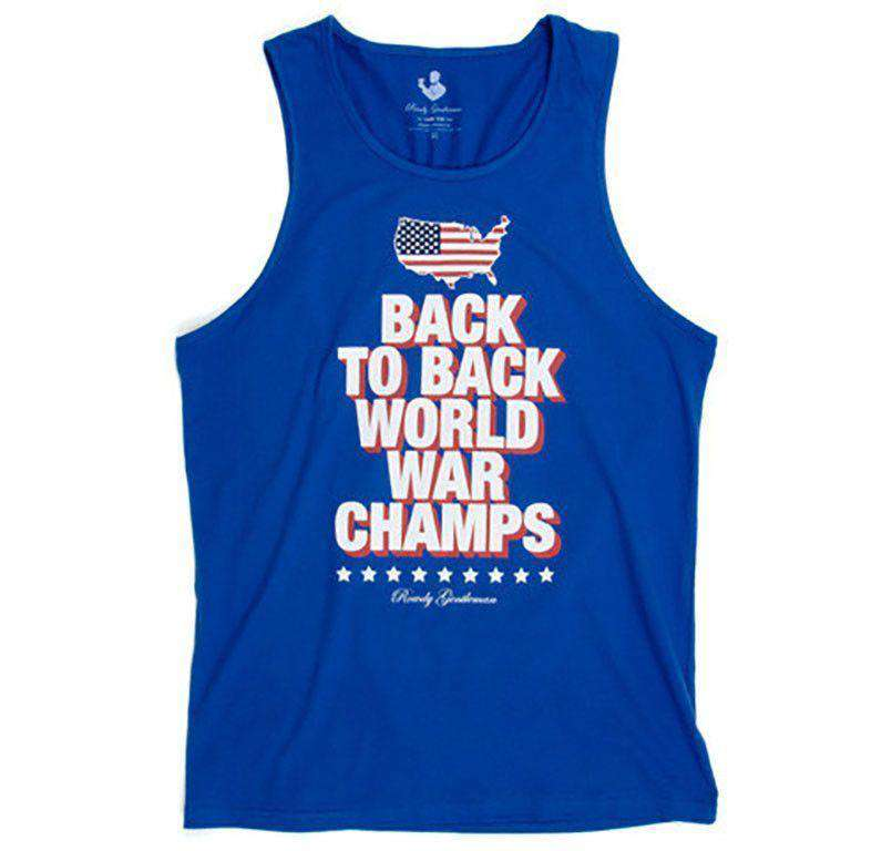 cdbe21f1 Rowdy Gentleman Back to Back World War Champs Tank Top - America Silhouette  Edition in Royal Blue – Country Club Prep