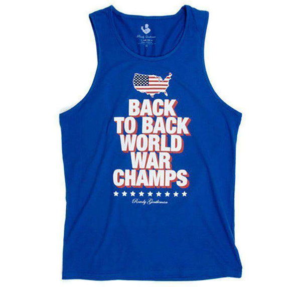 Men's Tee Shirts - Back To Back World War Champs Tank Top - America Silhouette Edition In Royal Blue By Rowdy Gentleman - FINAL SALE