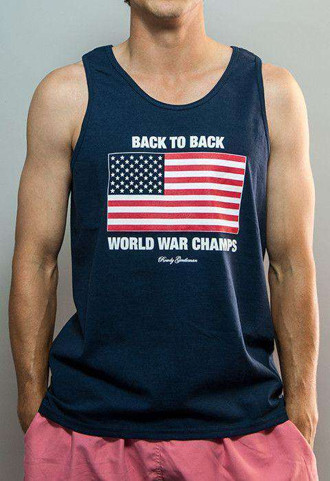 Men's Tee Shirts - Back To Back World War Champs Tank Top In Navy By Rowdy Gentleman - FINAL SALE