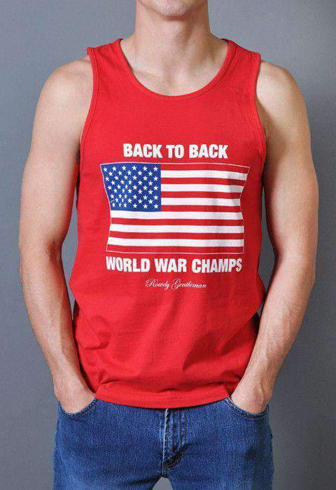 Men's Tee Shirts - Back To Back World War Champs Tank Top In Red By Rowdy Gentleman - FINAL SALE