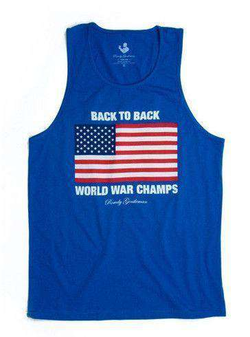 Men's Tee Shirts - Back To Back World War Champs Tank Top In Royal By Rowdy Gentleman - FINAL SALE