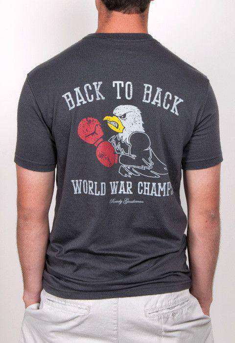 Men's Tee Shirts - Back To Back World War Champs Tee - Eagle Edition - In Smoke By Rowdy Gentleman - FINAL SALE
