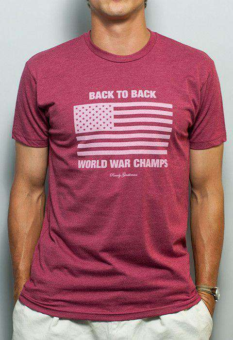Men's Tee Shirts - Back To Back World War Champs Tee In Faded Red By Rowdy Gentleman - FINAL SALE