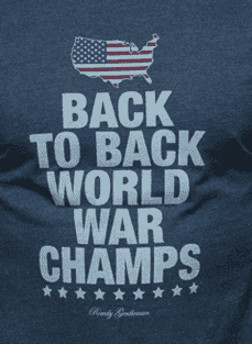 Men's Tee Shirts - Back To Back World War Champs Vintage Tee With America Silhouette In Faded Navy By Rowdy Gentleman - FINAL SALE