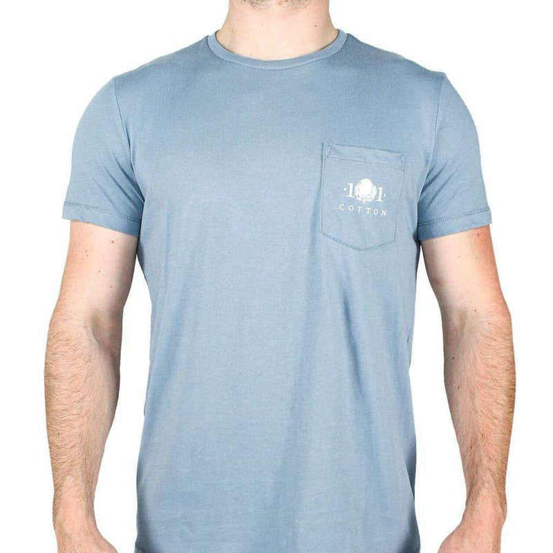 Men's Tee Shirts - Back To Basics Pocket Tee In Silver Blue By Cotton 101 - FINAL SALE