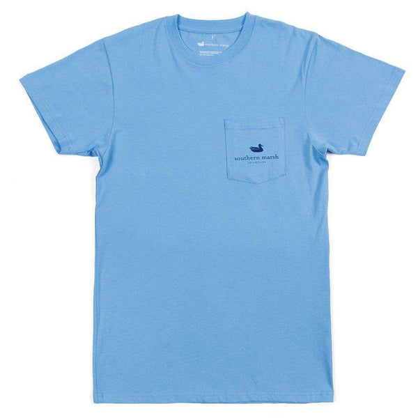 Men's Tee Shirts - Backroads Collection - North Carolina Tee In Breaker Blue By Southern Marsh