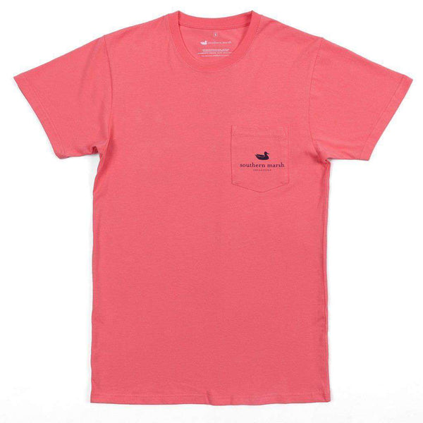 Men's Tee Shirts - Backroads Collection - South Carolina Tee In Coral By Southern Marsh