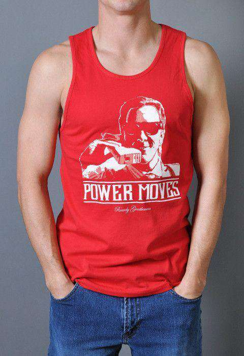Men's Tee Shirts - Bateman Power Moves Tank Top In Red By Rowdy Gentleman - FINAL SALE