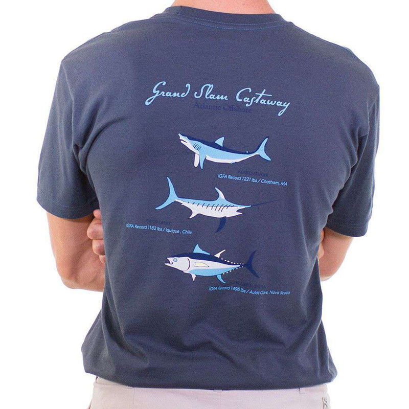 Men's Tee Shirts - Beach T-Shirt In Navy With Grand Slam Deep Sea Fishing By Castaway Clothing - FINAL SALE