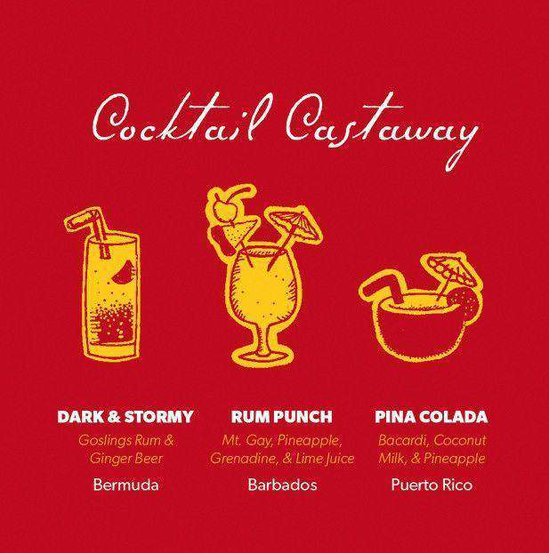 Men's Tee Shirts - Beach T-Shirt In Red With Cocktails By Castaway Clothing