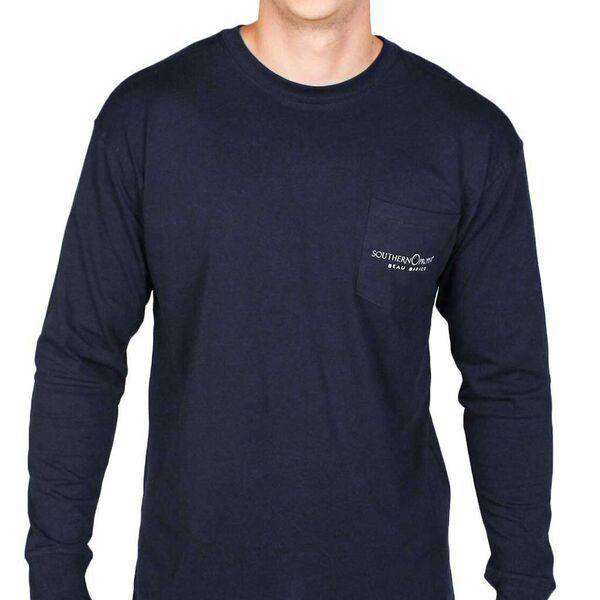 Men's Tee Shirts - Beau Basics Long Sleeve Tee Shirt In Navy By Southern Proper