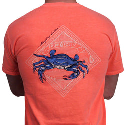 Men's Tee Shirts - Blue Crab Tee In Neon Orange By Fripp & Folly