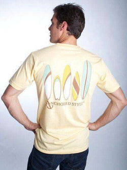 Men's Tee Shirts - Boarding School Tee Shirt In Butter Yellow By Anchored Style - FINAL SALE