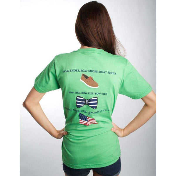 Boat Shoes, Bow Ties and America Tee Shirt in Grass Green by Anchored Style - FINAL SALE
