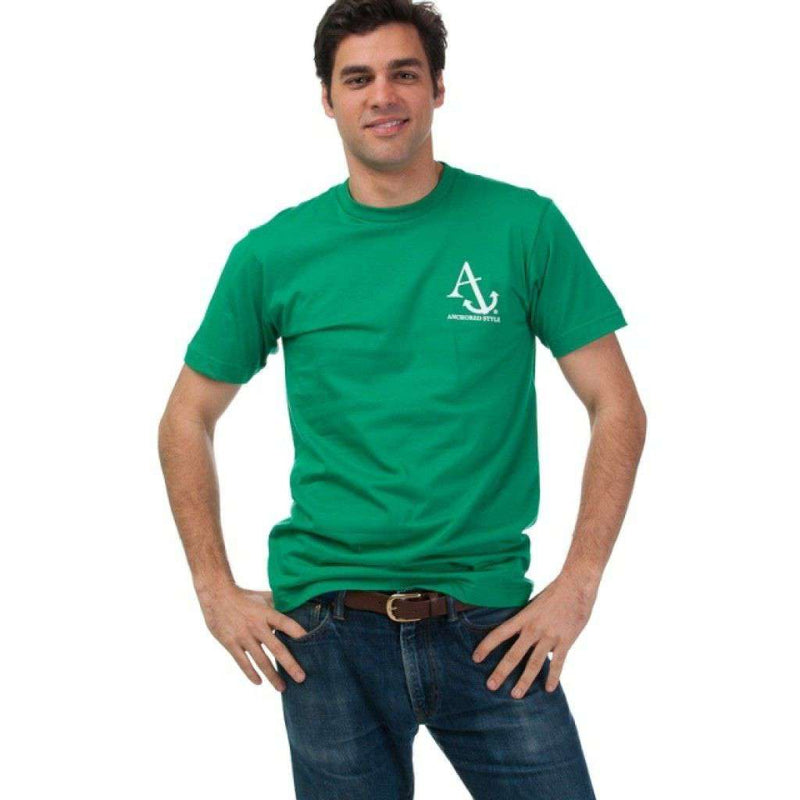 Men's Tee Shirts - Boat Shoes, Bow Ties And America Tee Shirt In Green By Anchored Style