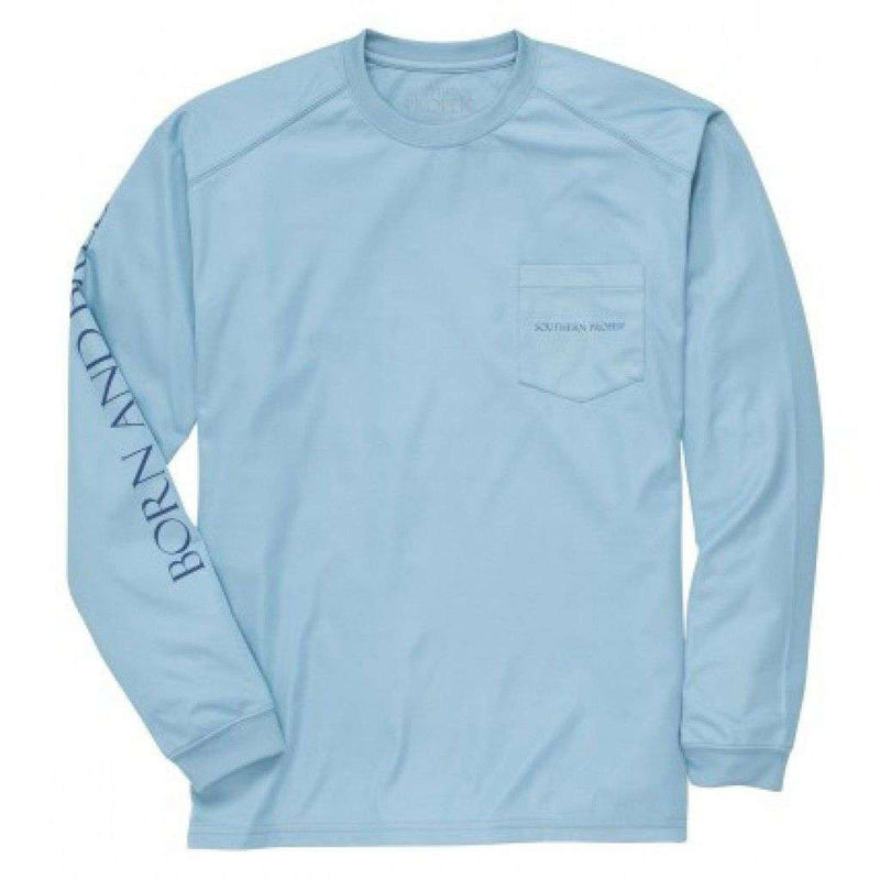 Men's Tee Shirts - Born And Bred Longsleeve Performance Tee In Blue By Southern Proper - FINAL SALE