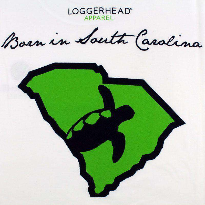 Men's Tee Shirts - Born In South Carolina Tee In White By Loggerhead Apparel - FINAL SALE