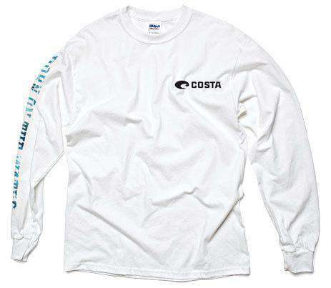 Men's Tee Shirts - Born On The Water Long Sleeve Tee In White By Costa Del Mar