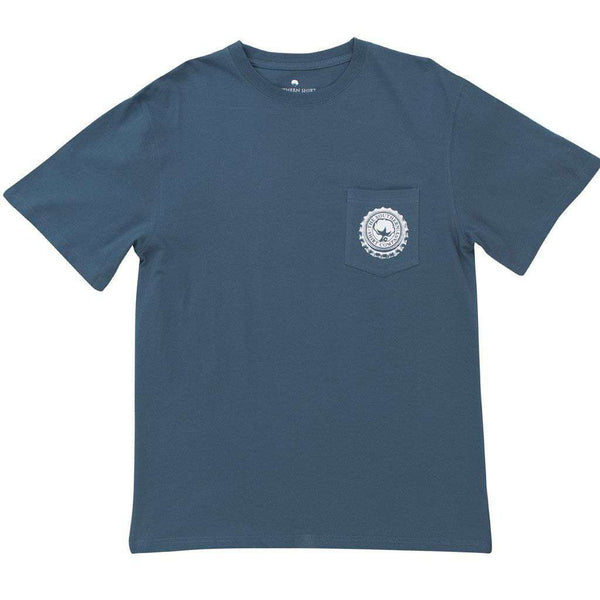 Bottle Cap Flag Tee Shirt in Indian Teal by The Southern Shirt Co. - FINAL SALE