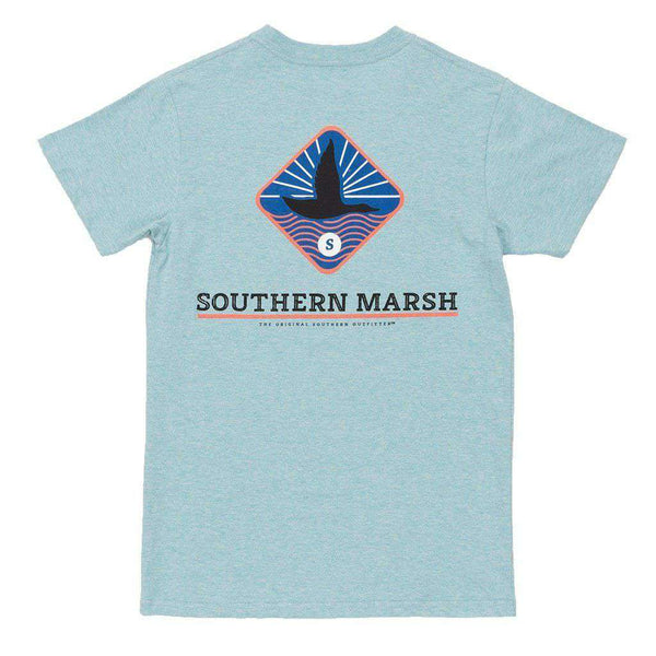 Men's Tee Shirts - Branding Collection - Flying Duck Tee In Washed Moss Blue By Southern Marsh