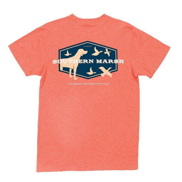 Men's Tee Shirts - Branding Collection - Hunting Dog Tee In Washed Red Heather By Southern Marsh