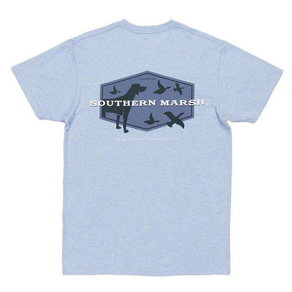 Men's Tee Shirts - Branding Collection - Hunting Dog Tee In Washed Sky Blue By Southern Marsh