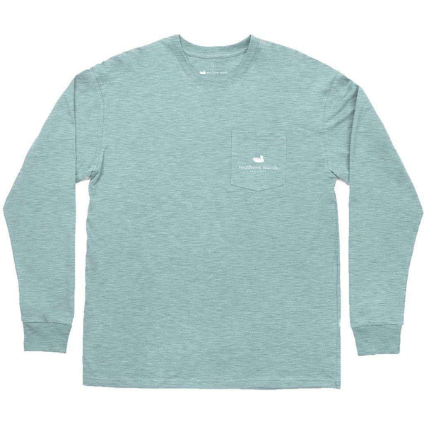 Men's Tee Shirts - Branding - Flying Duck Long Sleeve Tee In Washed Moss Blue By Southern Marsh - FINAL SALE