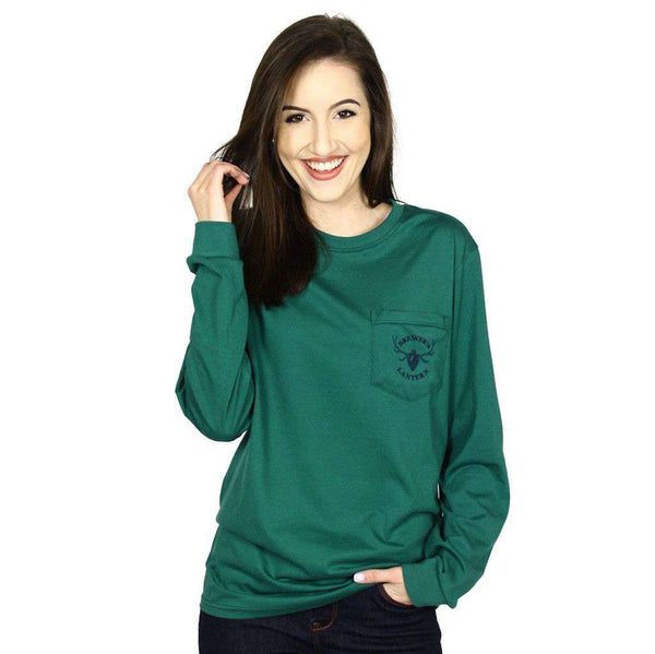 Brewer's Antler Logo Long Sleeve Tee in Green by Brewer's Lantern