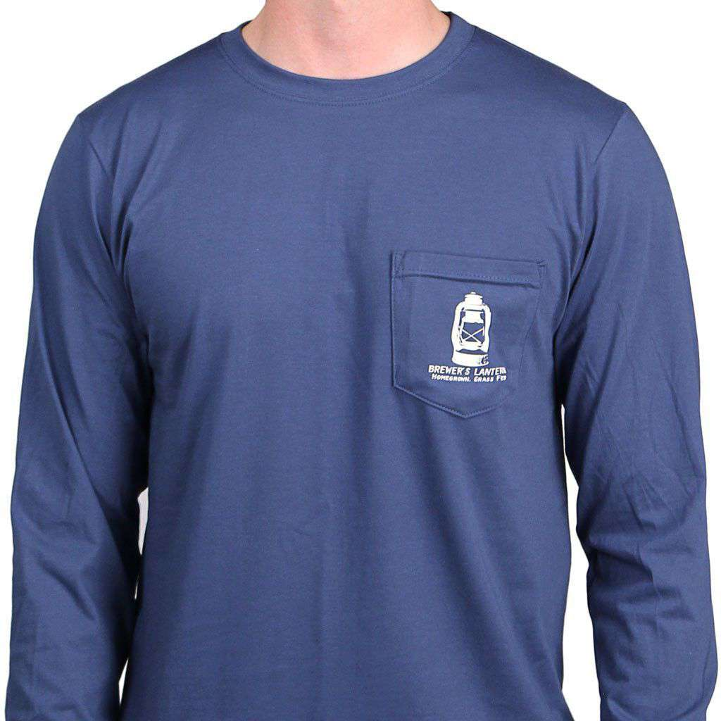 Men's Tee Shirts - Brewer's Bull Long Sleeve Tee In Ole Blue By Brewer's Lantern - FINAL SALE